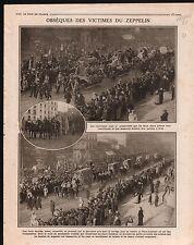 WWI Zeppelin Cortège Funèbre Cimetière Père-Lachaise / Joffre 1916 ILLUSTRATION