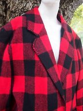 Womens Vintage Buffalo Plaid Red Flannel Jacket Lumberjack Medium Pockets Lined