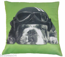 "2 X CUTE BRITISH BULLDOG BRIGHT LIME GREEN CREAM CUSHION COVERS 16"" - 40CM"