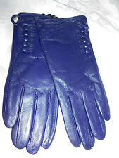 GORGEOUS PURPLE/BLUE LEATHER GLOVES WITH BUTTONS BRAND NEW!!!