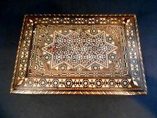 ANTIQUE VINTAGE ISLAMIC INLAID MICRO MOSAIC HIGHLY DETAILED WOOD HINGED BOX