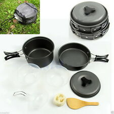 8pcs Outdoor Camping Hiking Cookware Backpacking Cooking Picnic Bowl Pot Pan UR