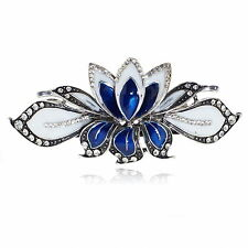 BA27 Clear Crystal Rhinestone Blue Painted Vintage Alloy Barrette Hair Clip