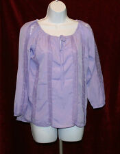 """Womens Hot In Hollywood Purple """"Maya"""" Peasant Blouse w Lace Top, Sz S"""