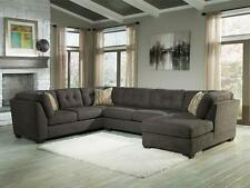ALBA - Large Modern Gray Microfiber Living Room Sofa Couch Chaise Sectional Set