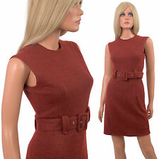 Vintage 60s MOD MINI DRESS Sheath Brown/Brick Red Knit Bandage Gogo Bodycon - S