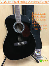 VGS Mini Acoustic Guitar D-baby Black, 3/4 Size+Free Gig Bag, Extra String Set