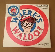 Rare!  Where's Waldo Giant 2-sided Round Floor Puzzle 20 Extra Large Pieces