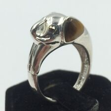 Nevada Sterling Silver 925 Tiger's Eye & Marcasite Elephant Head Ring Size 9