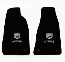 NEW! Black Floor Mats 1992-2002 Dodge Viper Silver Embroidered Logo Snake Head