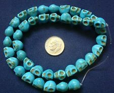 "16"" Turquoise skull beads day of the dead reconstituted howlite 40 pcs  bs047"
