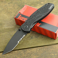 Kershaw Blur 14C28N DLC Tanto Point Part Serrated Linerlock Knife 1670TBLKST