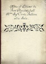 Antico Manoscritto 1668 Estimo Beni e Proprietà del Conte Bellone alla Sala