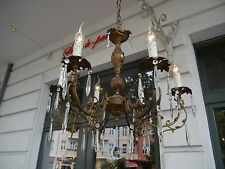 6 LIGHT BRONZE GOTHIC FRENCH CHANDELIER CRYSTAL VINTAGE OLD LAMP ANCIENT BRASS