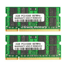 New 4GB Pair 2x2GB PC2-5300 667Mhz DDR2 200pin Sodimm Laptop Memory Non-ECC