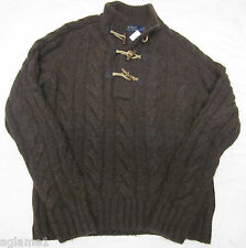 NWT Polo Ralph Lauren Thick Toggle Cable Alpaca Wool Sweater Small chocolate