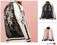 Reversible Satin Embroidered Women Coat Baseball Jacket Embroidery Outwear SizeS