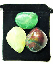 LIBRA ZODIAC / ASTROLOGICAL Tumbled Crystal Healing Set = 3 Stones + Pouch+ Card