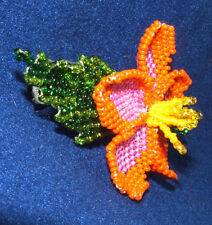 """Columbine Flower Hand Beaded Barrettes 4"""" L French Clip Closure #10"""
