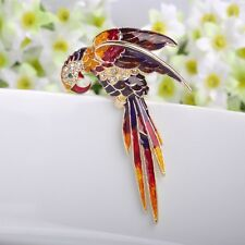 Beautiful Gold Plated Enamelled Parrot Brooch