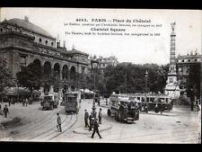 PARIS / TRAMWAY & AUTOBUS animés au THEATRE , PLACE DU CHATELET en 1919