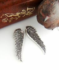 SILVER (1 Pair) ANGEL WINGS Stamping ~ Antique Silver Findings (C-702)
