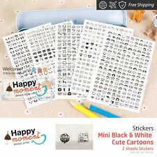 Mini Black & White Cute Cartoons Stickers Craft DIY Decor Diary 2 sheets