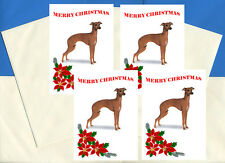 ITALIAN GREYHOUND PACK OF 4 CARDS DOG PRINT GREETING CHRISTMAS CARDS