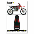 2004-2013 HONDA CRF 250 X SEAT COVER Ribbed Black/Red Ribs FITS TALL SEAT FOAM
