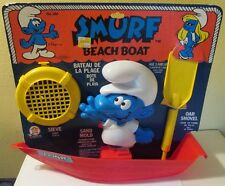 1981 Smurf Beach Boat Playset, Peyo #288, Red Boat