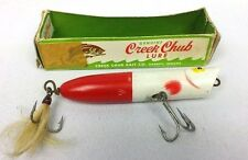 """Vintage Collectible Creek Chub White & Red Lure 5"""""""