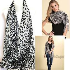 "70"" Animal Print Scarf Pashmina Shawl Wrap Soft with Fringe Gray Leopard Fashion"