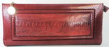 ESCADA Vintage Purse Handbag Clutch Red Gold Croc Lizard Alligator Leather