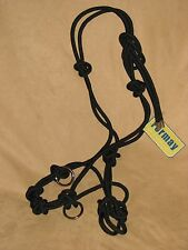 Rope Horse Halter Professional 4 Knot Training Side Pull Rings BLACK New Tack