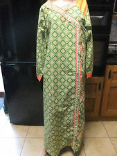 New Green/Yellow/White/Orange Ethnic/Tribal Kaftan Dress  sz 18/20 Oriental