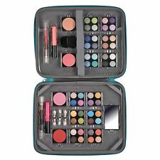 Laptop Bag Makeup Cosmetic Set Beauty Travel Student Zip Blue Grey 61 Piece