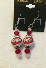 KITKAT CANDYBAR EARRINGS GLASS BEADED SNACK CANDY ADVERTISING