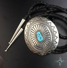 Large Stampwork Sterling Silver Turquoise Bolo Tie Vintage Navajo