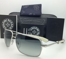 CHROME HEARTS Sunglasses SOPHISTAFUCKS 63-14 BS-WEPV Silver & Ebony Wood w/ Grey