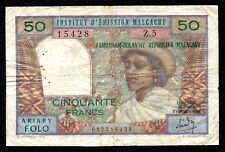 MADAGASCAR 50 Francs  Replacement  1969  P-61