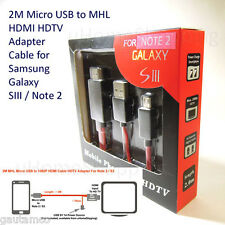 2M MHL Micro USB HDMI Cable Adapter HDTV for Samsung Galaxy S3 i9300 Note 2