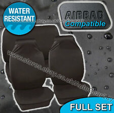Water Resistant Air Bag Compatible Car Black Seat Covers Protectors Full Set