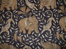 Vintage 3.7yds P Kaufmann Elephant/Leopard RibCord Brown/Black Upholstery Fabric