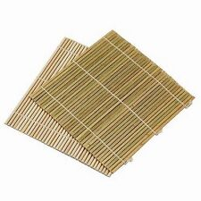 Set of 6 Bamboo Sushi Rolling Mats 9-1/2 Inches Square S-3987