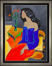 Linda Le Kinff Original Painting Oil on Board Signed Framed Portrait Artwork SBO