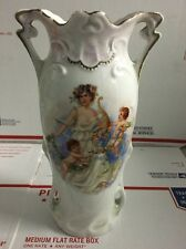 Beautiful Antique Double Handle Victorian Cherub Angelic Vase German Porcelain