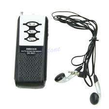Portable Auto Scan Mini FM Radio Receiver Belt Clip With Flashlight Earphone New