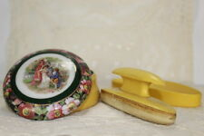 Antique French Ivory Celluloid Vanity Nail Buffer Powder Jar Victorian Motif Lid