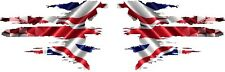 PAIR TEAR UNION JACK WITH RACING CHEQUES  STICKER GRAPHICS DECALS 002