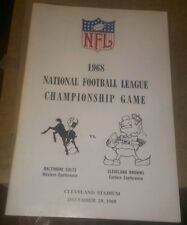1968 NFL Champ. Game MEDIA GUIDE BROWNS VS Balt. Colts Win go to Super bowl III